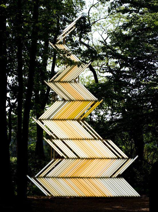 Yochai Matos,  Flame (Gate)  Light installation, 2009  850 x 530 cm (335 x 208 inch)