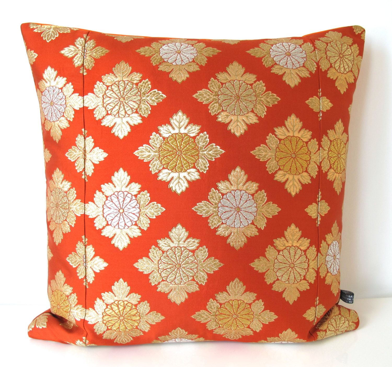 Large Cushion in Metallic Orange, Gold & Silver Geometric Diamond from a Vintage Japanese Obi Belt NEW A/W15 50x50cm by BeccaCadburyDesign on Etsy
