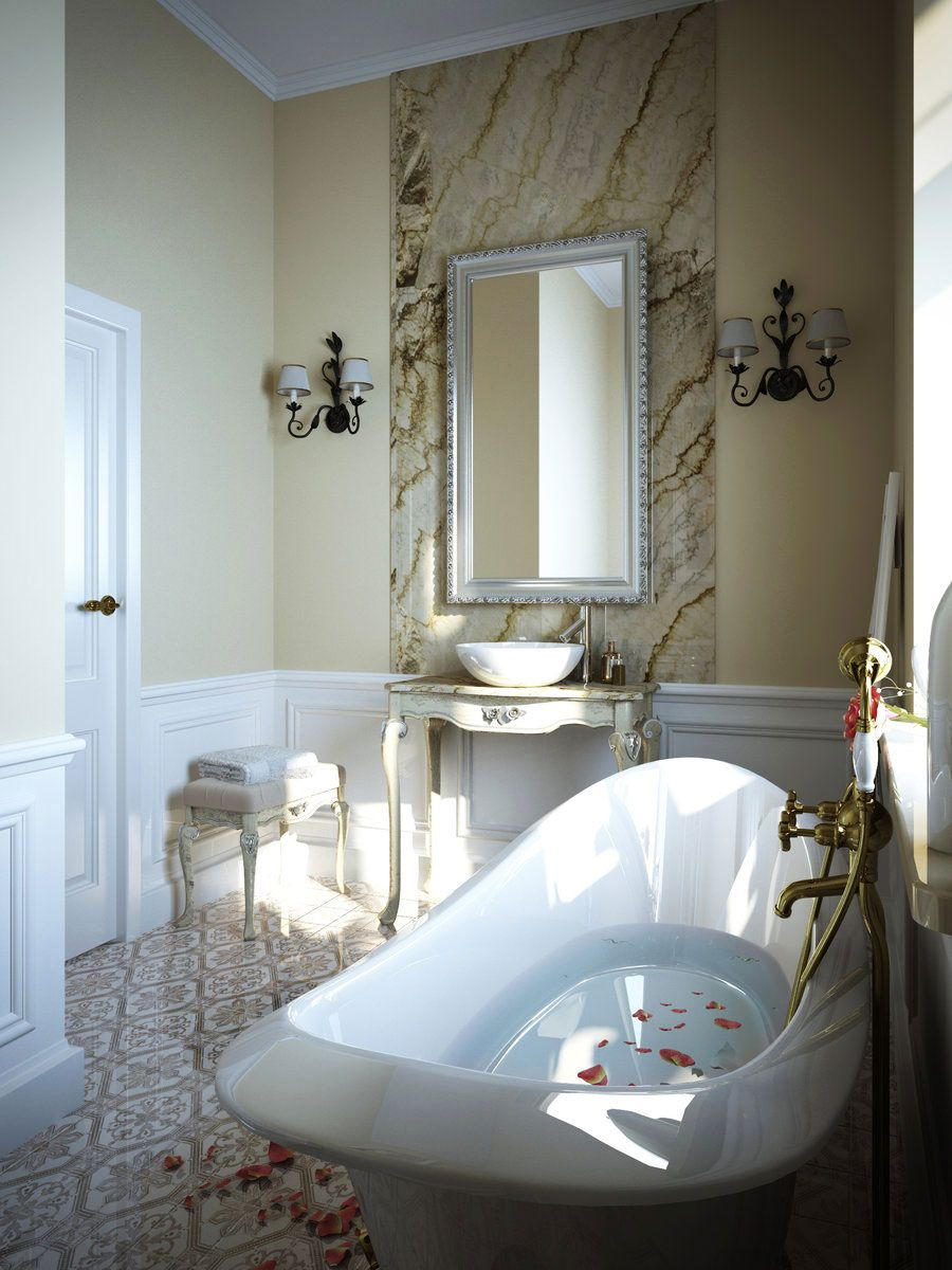 Luksusowe Wnętrze Małej łazienki W Stylu Ludwikowskim