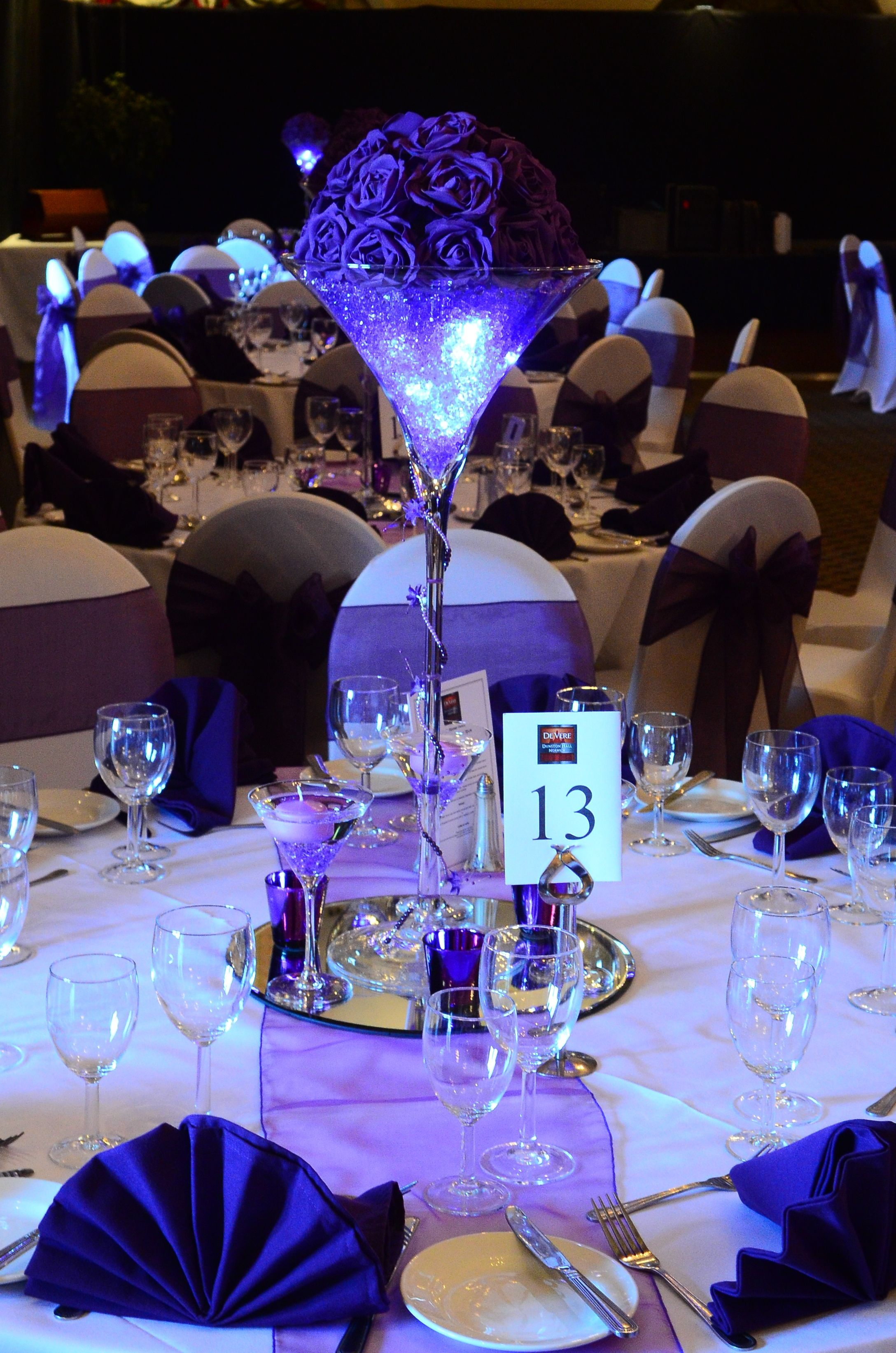 Martini Vase Table Centrepiece In Purple With Lights.