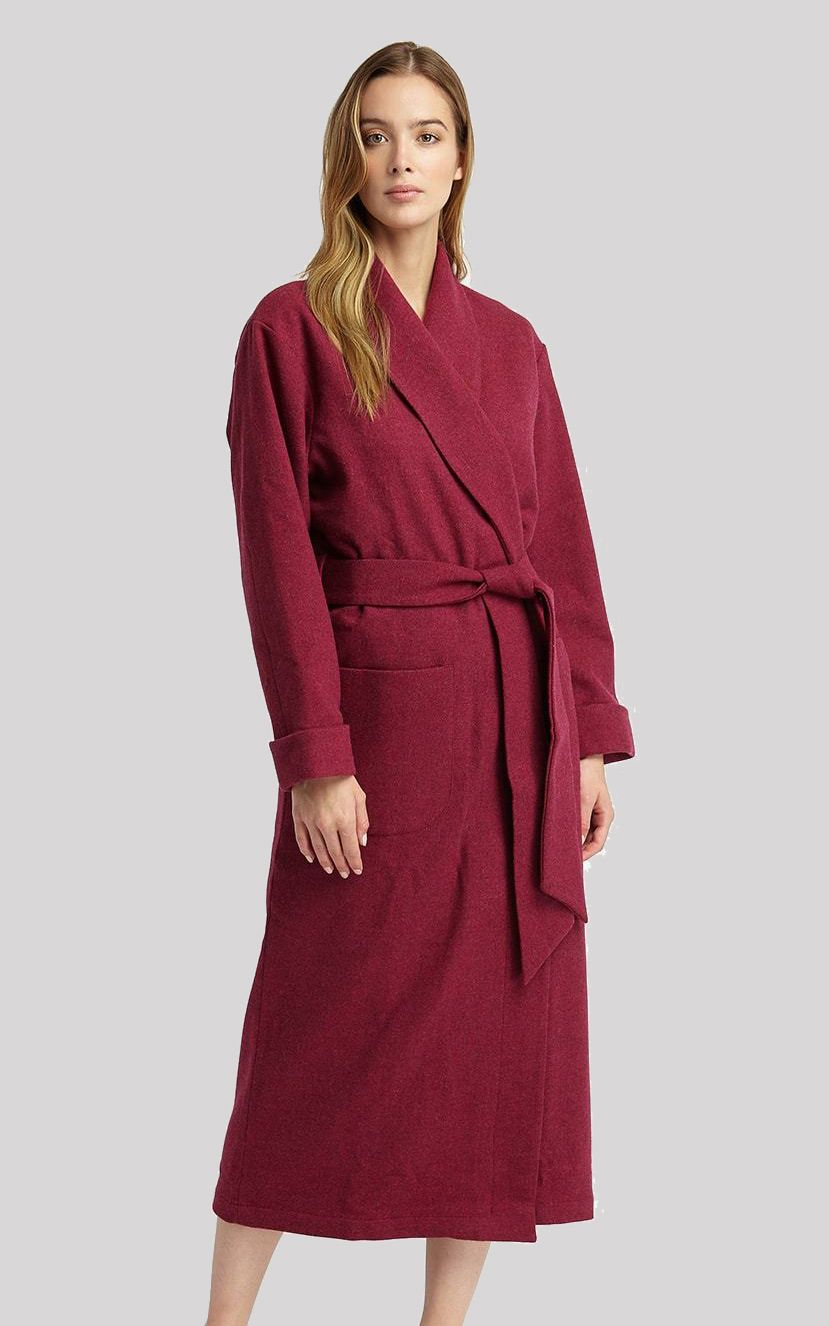 6f2734dd78 Classic Lambswool Long Dressing Gown in Fuchsia with Silk Lining from  Bonsoir of England