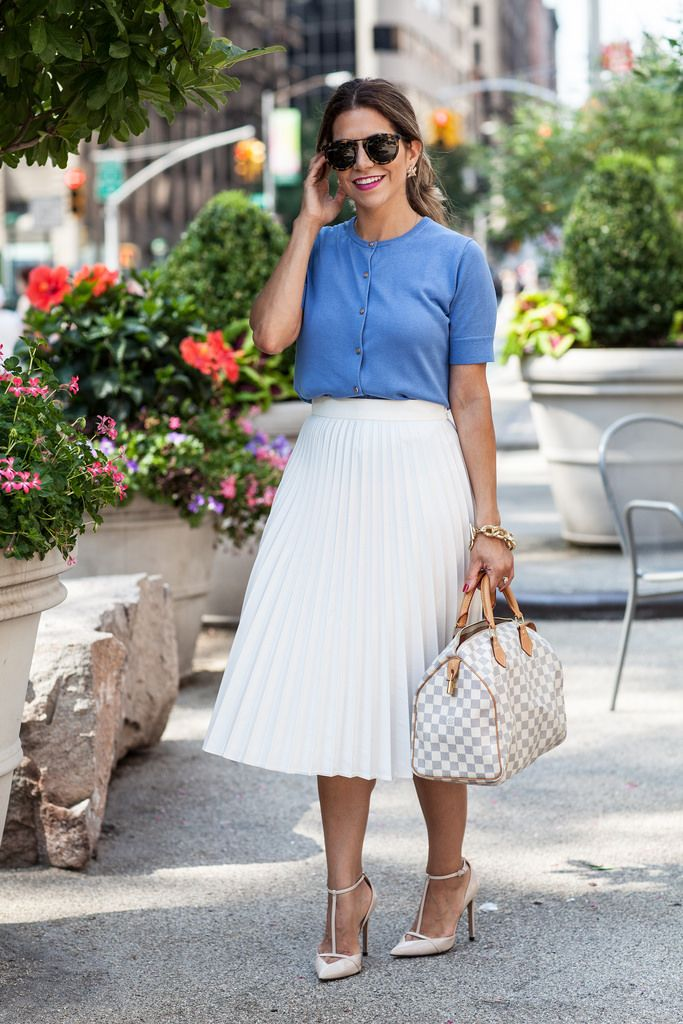 f3ddec4d2c0 louis vuitton speedy 30 ann taylor zara pleated skirt white skirt damier  azur nyc blogger what to wear to work nude heels work shoes work outfit  cardigan ...