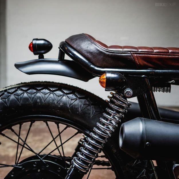 Motorcycle Brown Vintage Flat Brat Cafe Racer Seat Cushion For Yamaha XS500 750