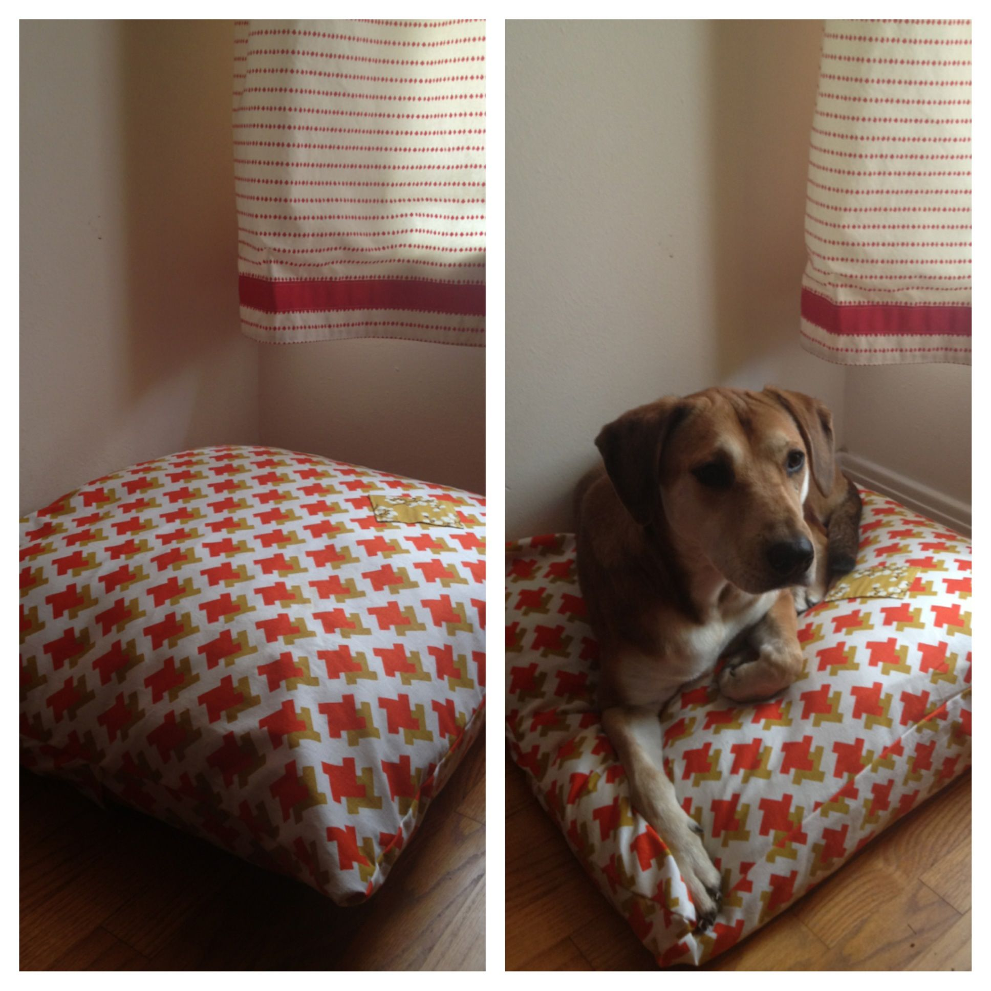 diy dog bed made with fabric and old pillows make a giant pillow