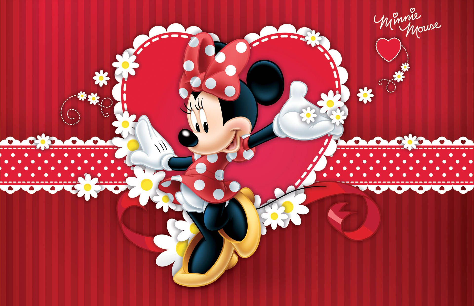 lovely minnie mouse in red dress wallpapers projetos