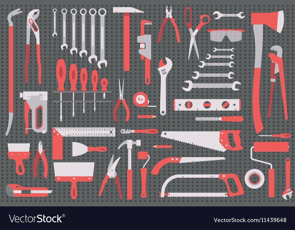 Wall with tools Royalty Free Vector Image VectorStock