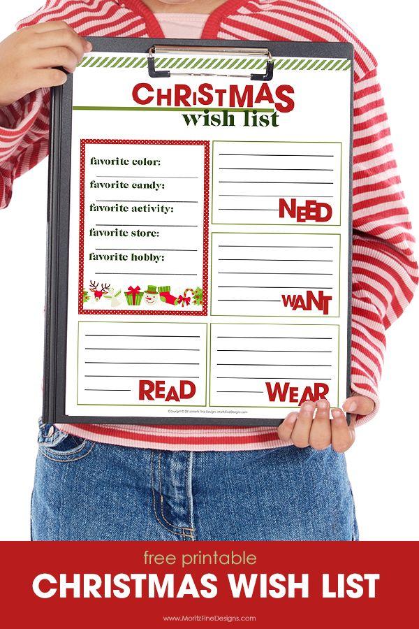 Free Printable Christmas Wish List | Free printable, Free and Holidays