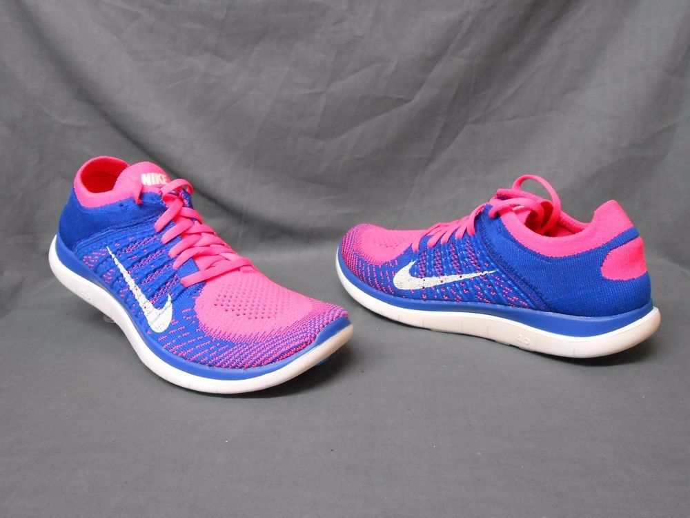 best loved 40cb6 6f2ca Nike Free Flyknit 4.0 Running Sneakers Pink White Blue ...