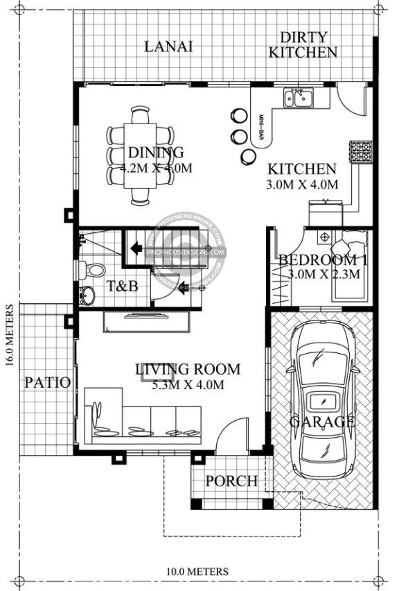 Home design 10x16m 4 Bedrooms (With images) | Two storey ...