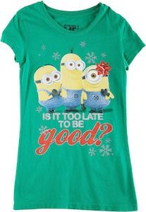 minion is it to late to be good girls christmas t shirt - Minion Christmas Shirt