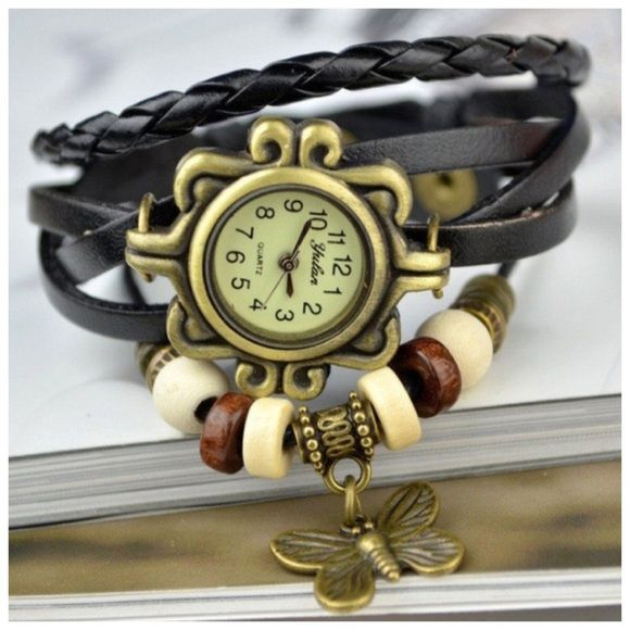 "BLACK Butterfly Charm Leather Quartz Watch NEW BLACK Butterfly Charm Leather Quartz Watch Overall length 8"" including 2 Snap Adjustment. Thank you for browsing my closet. Accessories Watches"