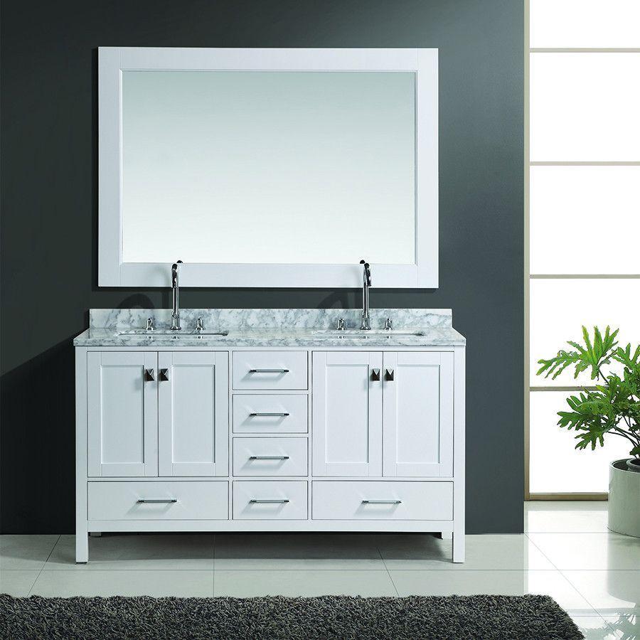 "Design Element 61"" London Hyde Double Sink Vanity Set In White Glamorous Design Element Bathroom Vanity Design Ideas"