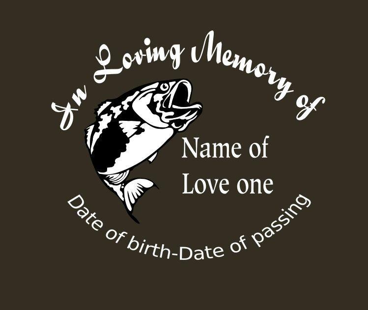 Bass fish memory decal in loving memory car decal custom memory auto decal bass fish decal