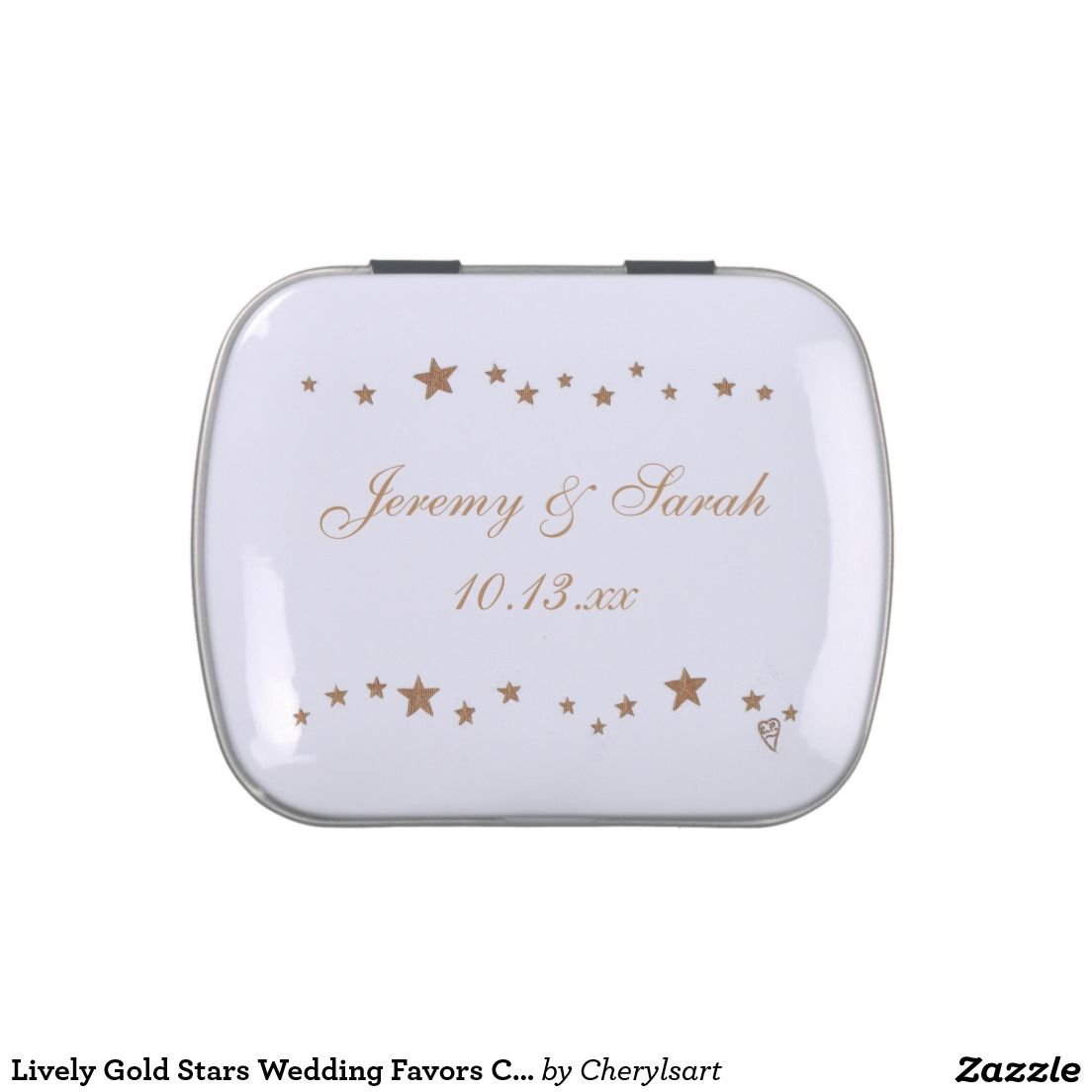 Lively Gold Stars Wedding Favors Candy Tins | Wedding : Candy Tin ...