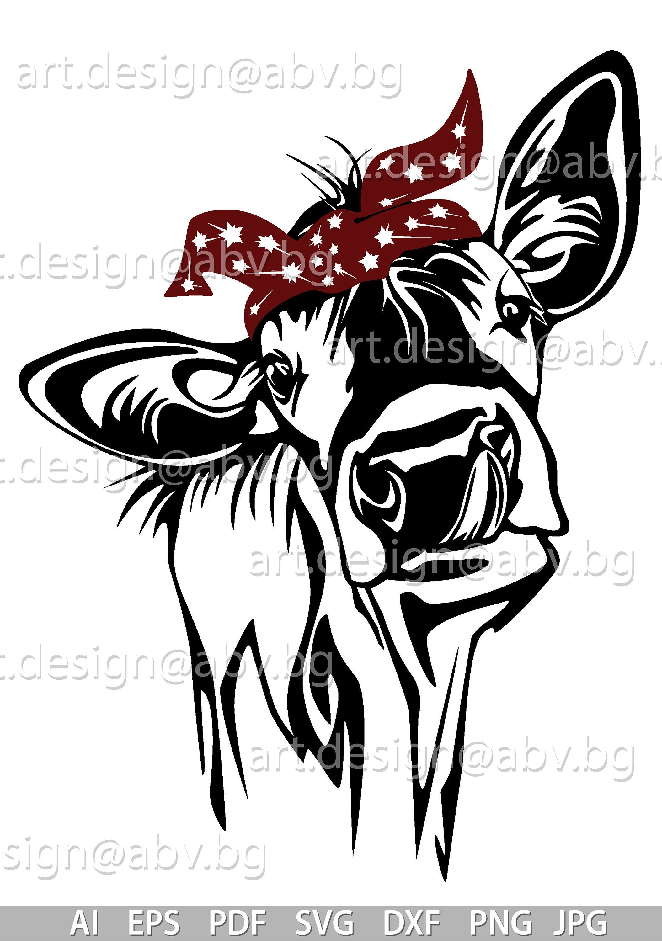 Vector COW with bandana, 3 colors, calf, head, AI, PNG