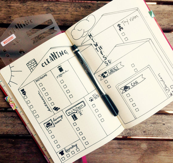House Cleaning Stencil - Bullet Point Journal Stencil, fits TN - faire un plan maison