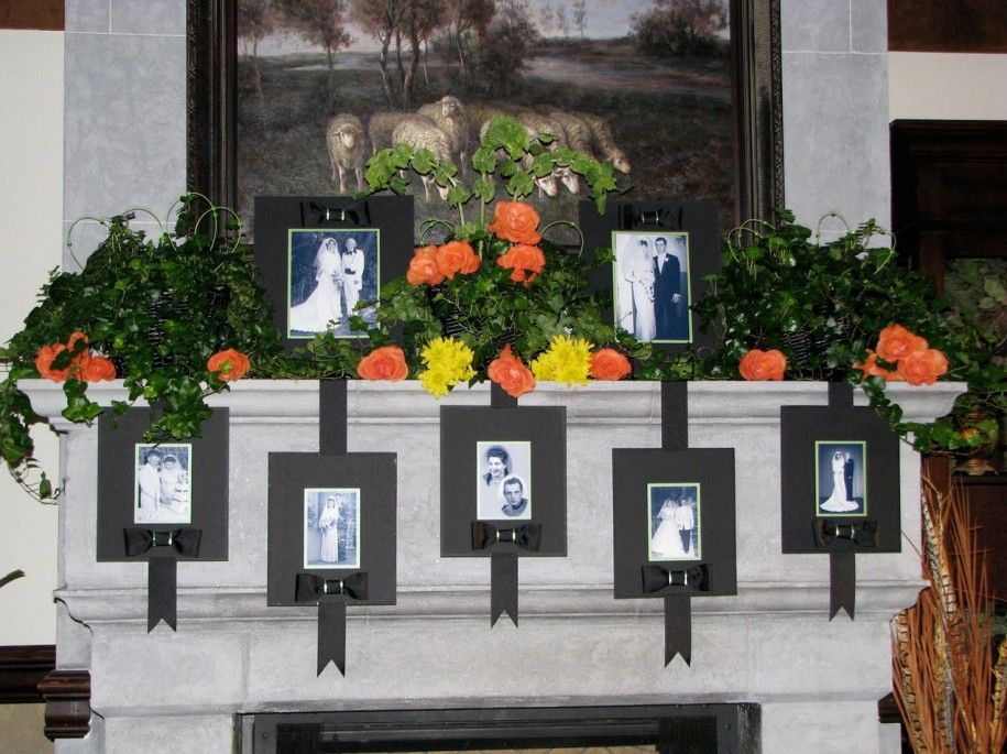 Fireplace mantel decorating for a wedding love this idea for Decorating your mantel