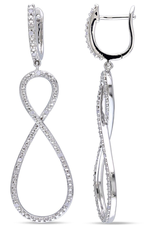 Eclipse .1 Ct Silver Diamond Drop Earrings
