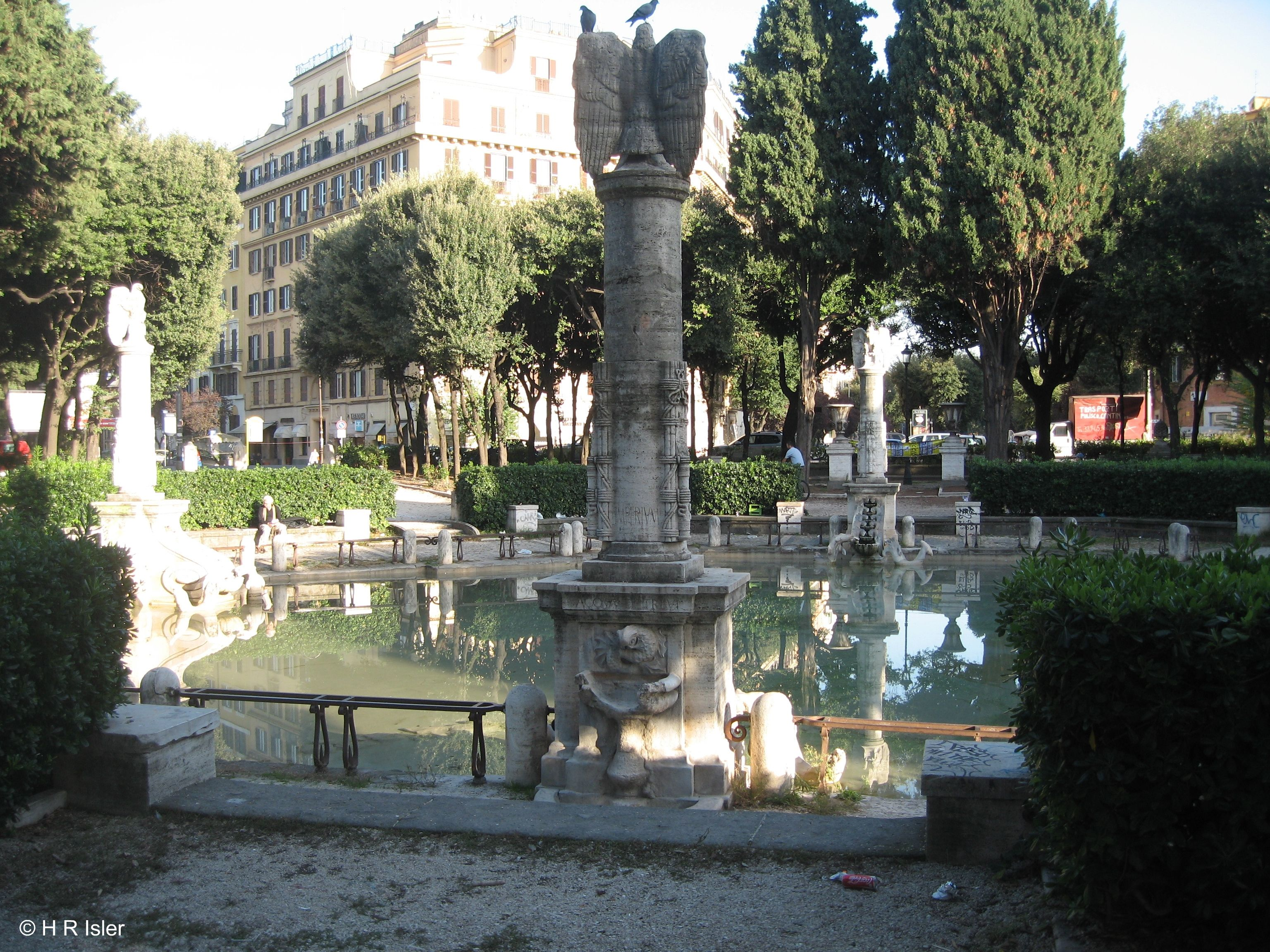 Fountain of piazza mazzini raffaele de vico 1929 at the for Piazza mazzini roma