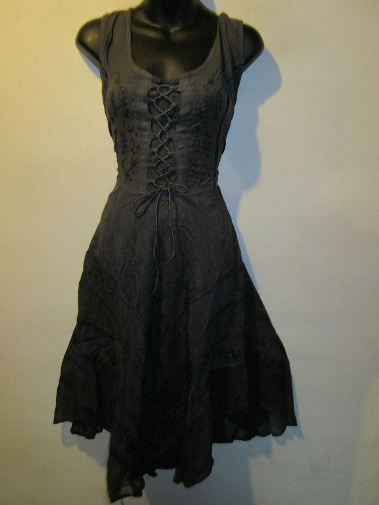 Dress Fit M L XL Renaissance Gray Corset Lace Up Chest Sexy Lace Hemline NWT 601 #FL #Dress #Casual