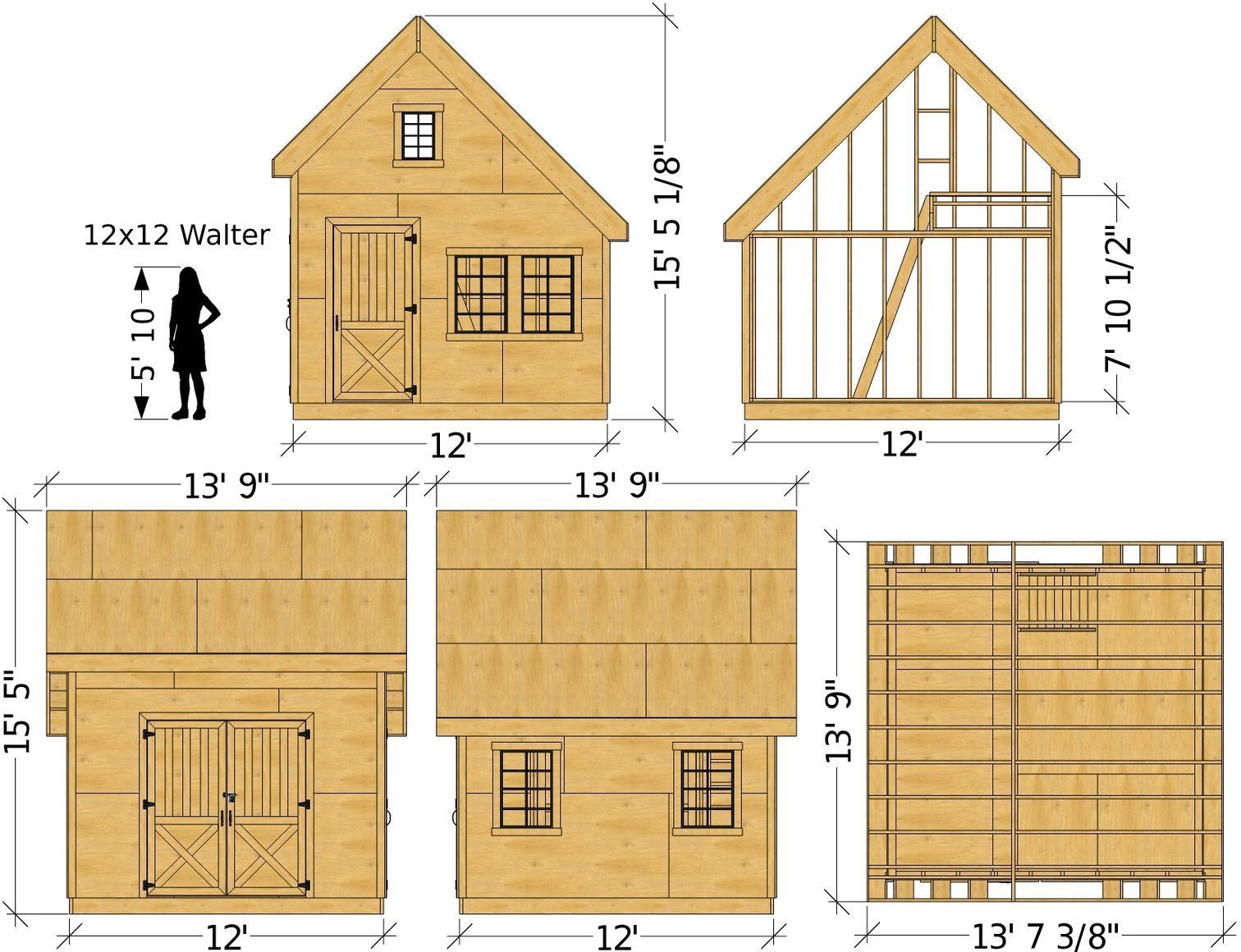 Walter Shed Plan 10x10 12x12 Sizes Gable Garden Shed W Loft