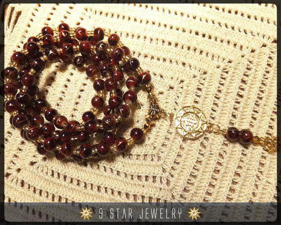 Dawn Bahai Prayer Beads With 18k Gold Bahai Ringstone Symbol By