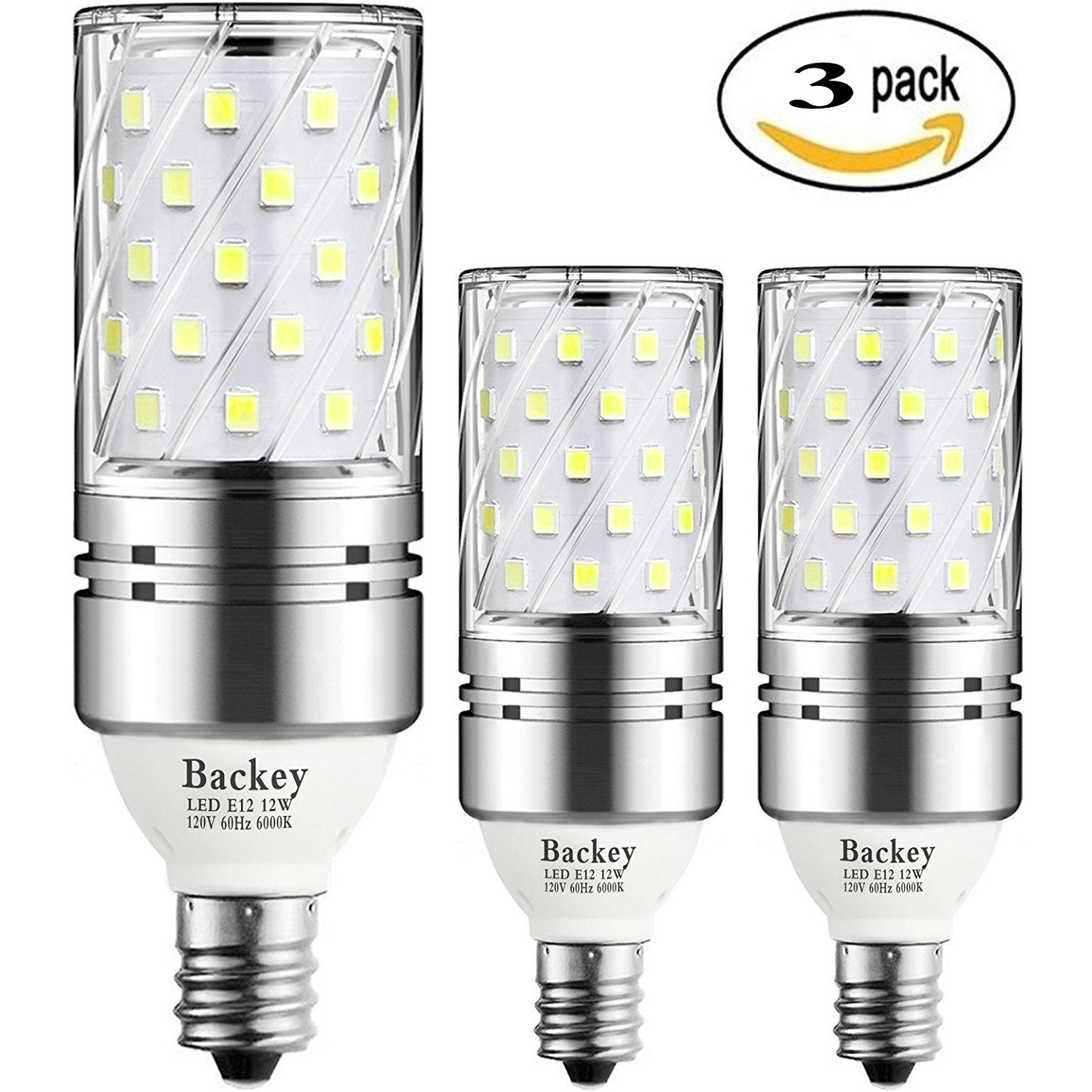 Backey e12 led bulbs12w led candelabra light bulbs 100 watt backey e12 led bulbs12w led candelabra light bulbs 100 watt equivalent 1200lm daylight white 6000k led chandelier bulbs decorative candle base e12 arubaitofo Images