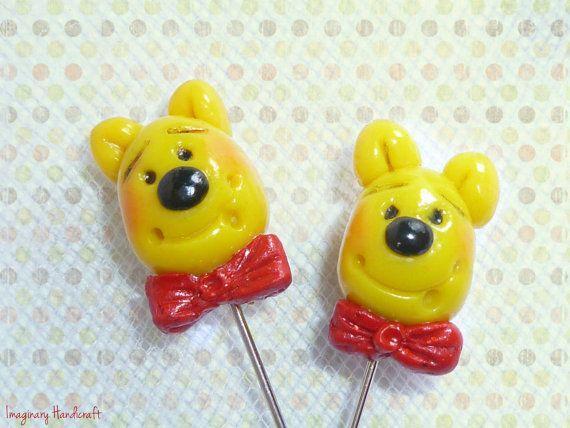 Bear sewing pins Winnie pooh pins Set of 4 by ImaginaryHandicraft