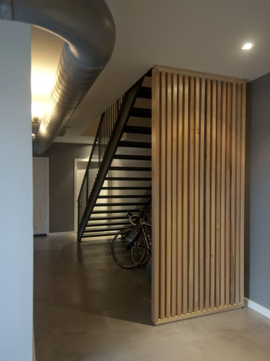 home decoration, modern staircase made froom wood with stairwell