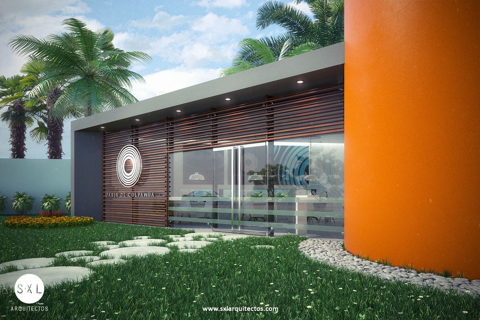 Sala De Ventas En Piura Para Proyecto Inmobiliario Diseno S Xl Arquitectos Restaurant Exterior Outdoor Decor Brick