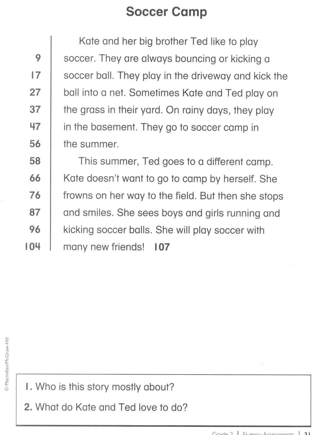 2nd Grade Reading Fluency Passage | Education tools and worksheets ...