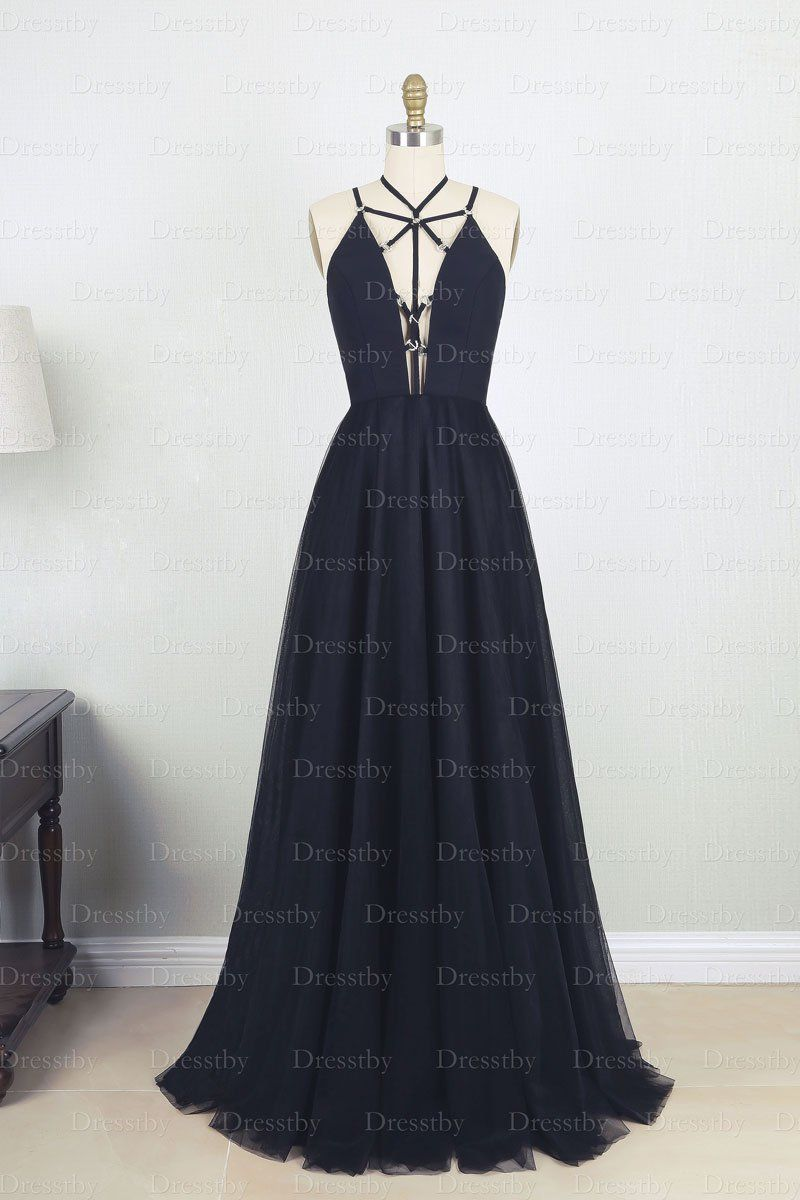 Simple black v neck tulle long prom dress black evening dress in