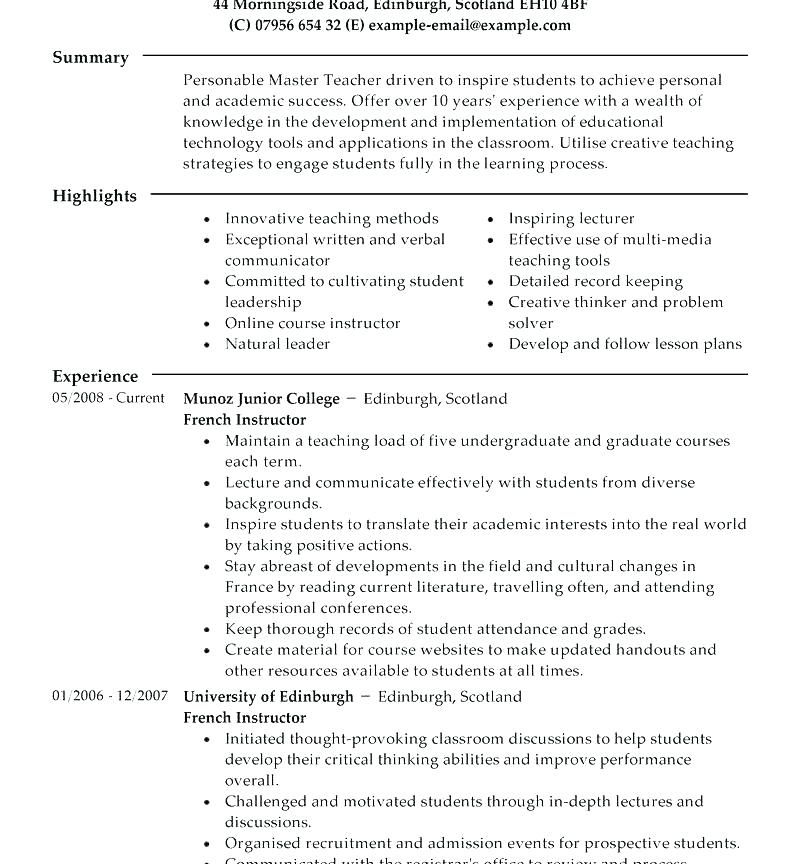 Academic Resume Template For Graduate School