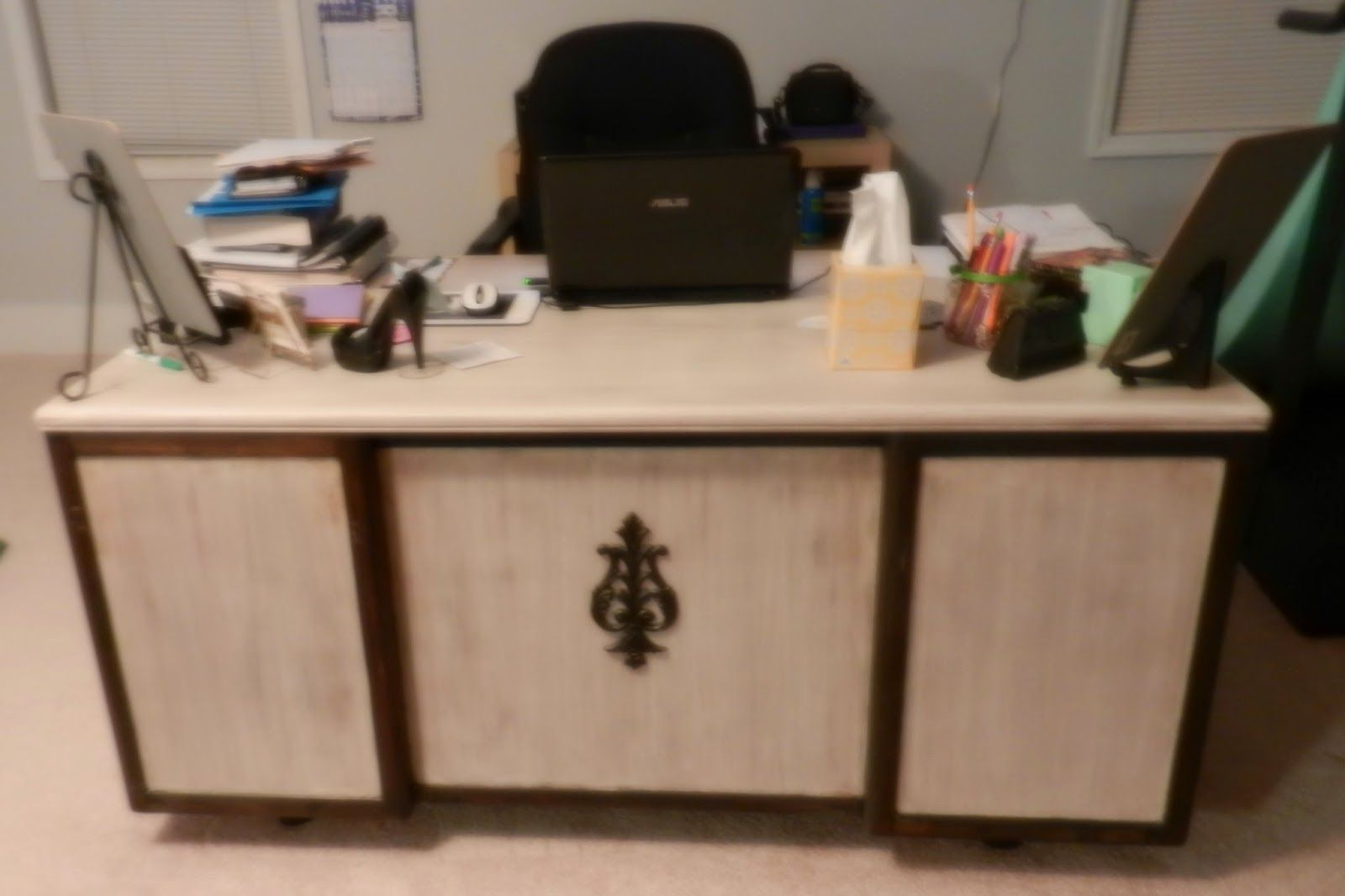 My refinished desk from my blog post at Under the Gazebo Why DIY