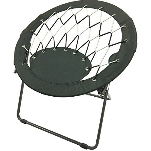 CAMPZIO Bungee Dish Chair Round Folding Comfortable Lightweight Portable Indoor Outdoor Black See