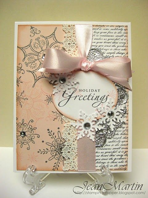 Pastel Holiday Greetings Card With Snowflakes Lace Trim