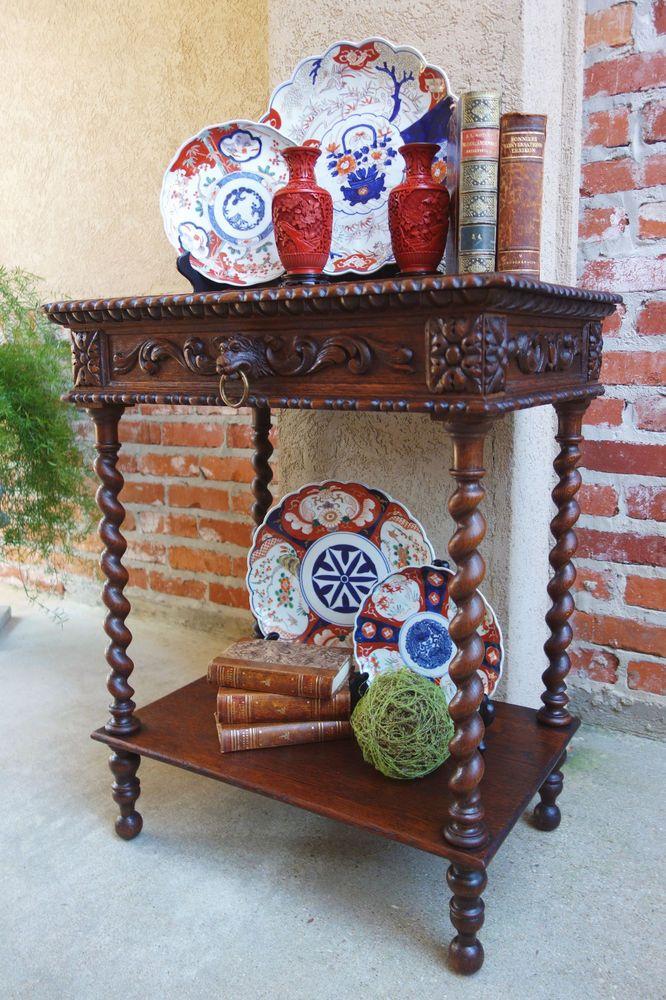 Antique French Carved Oak Barley Twist 2 Tier Lamp End Sofa Table Renaissance