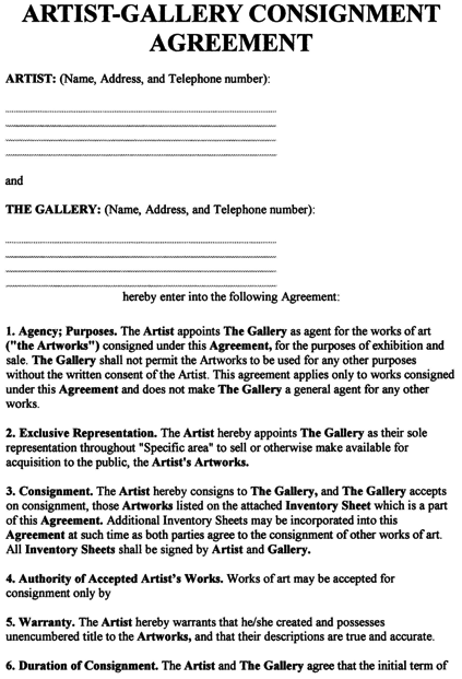 Consignment Agreement Form Template Artist Art Templates