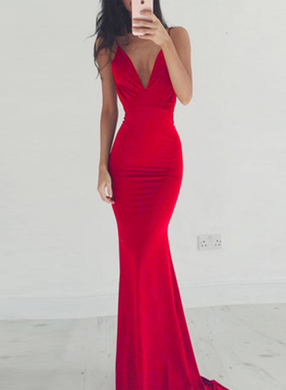 Charming v neckline prom dress sexy sleeveless mermaid dressy