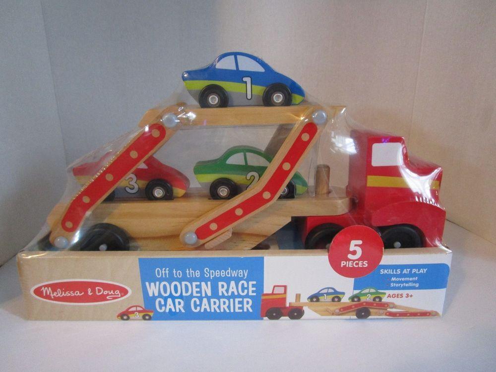 Melissa Doug Wooden Race Car Carrier 95007 New Sealed