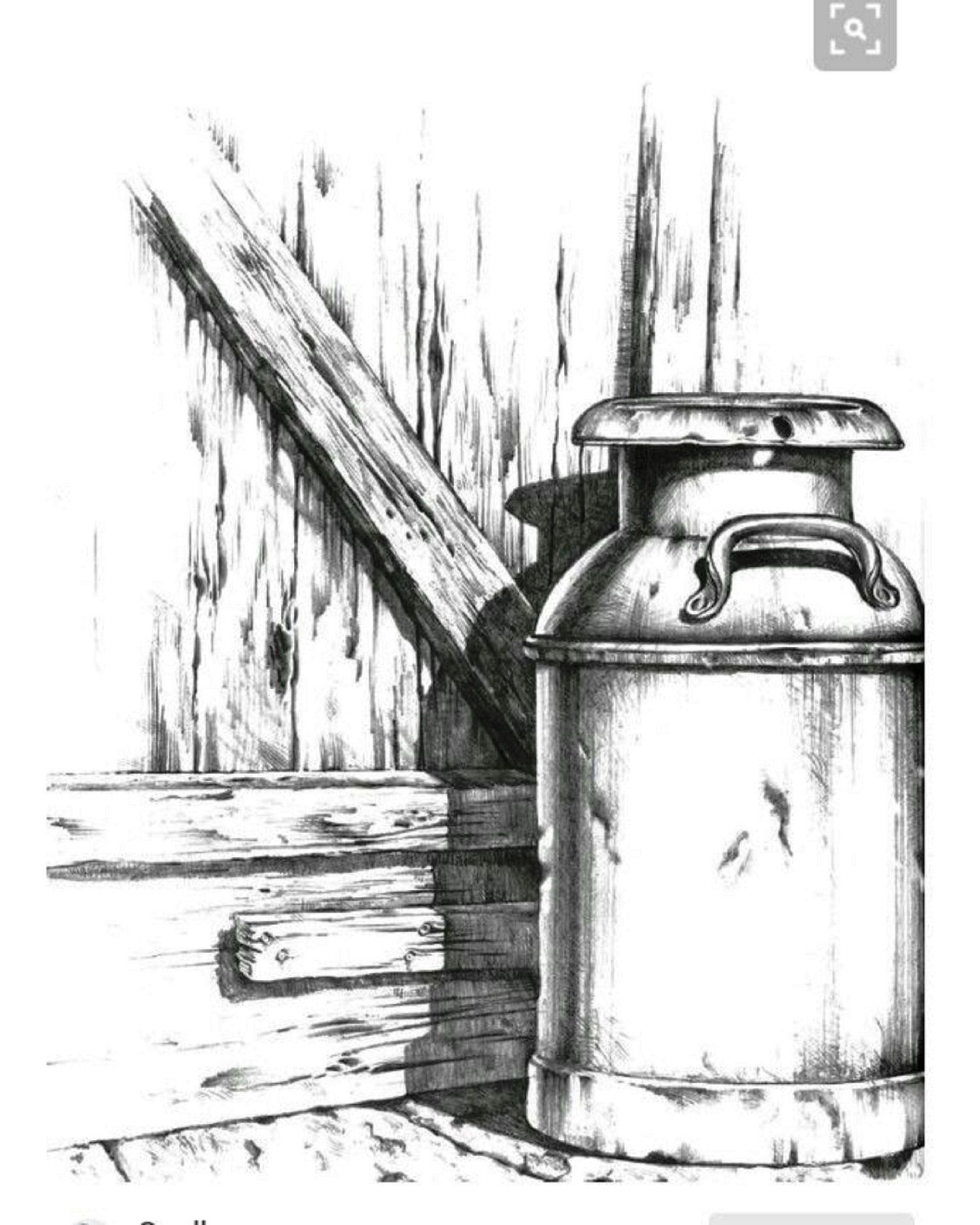 Country House Dra2wing: Milk Can Country Old Wooden Door Pencil Drawing,Man Cave