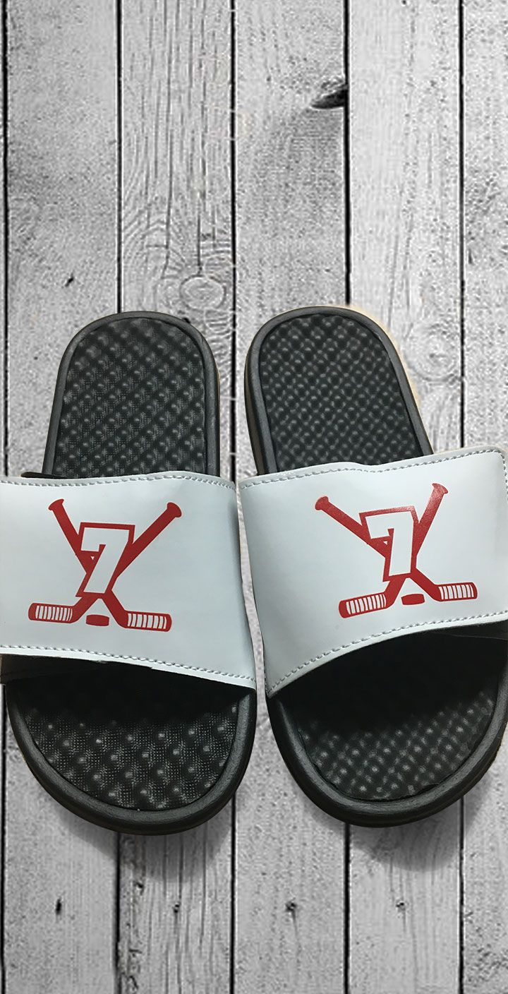 Custom Hockey Slides A Great Idea For Team Gifts No Minimum Order And Quantity S Available Lots Of Designs To Choose From Or