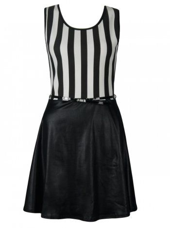 KarmaClothing Black Half White Monochrome Stripe Wet Look Belted Skater Dress  Skater Dress cute #casualoutfit #ramirez701 #SkaterDress #Skater #Dress #topdress www.2dayslook.com