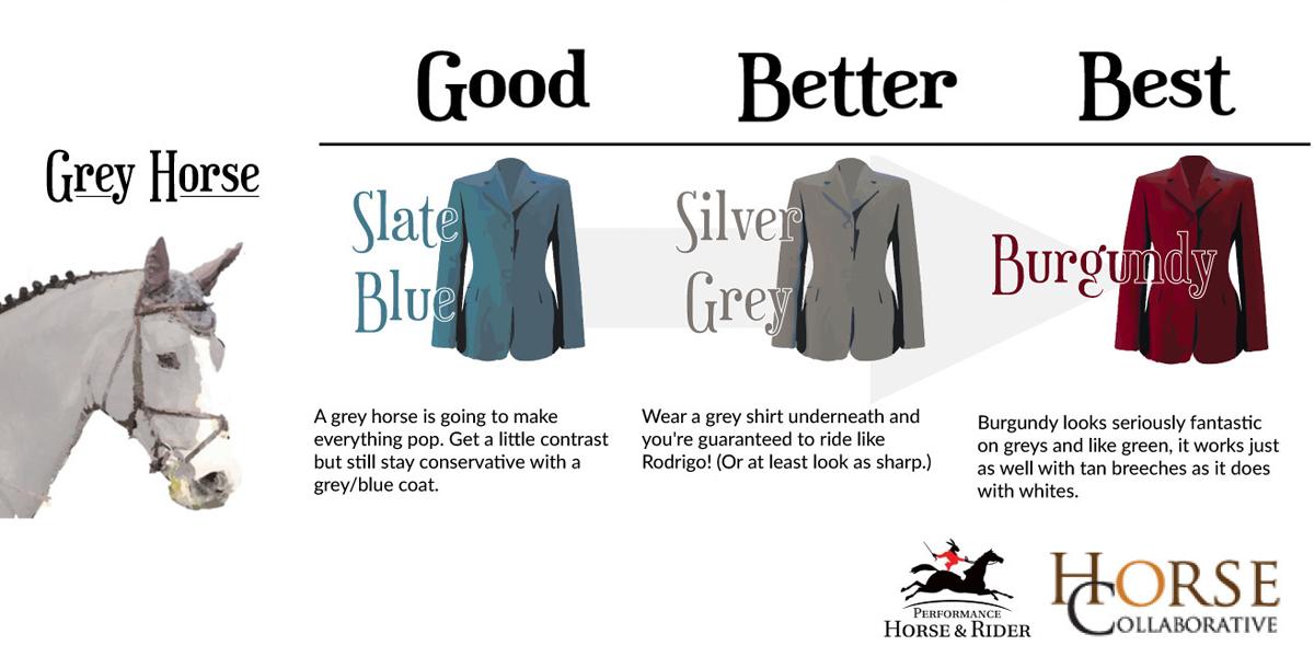 match-grey-colored-horse-to-hunt-coat | horse attire | pinterest