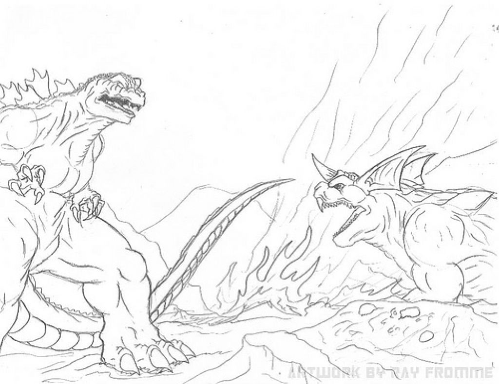 Godzilla And Other Giant Monsters Coloring Page For Kindergarten