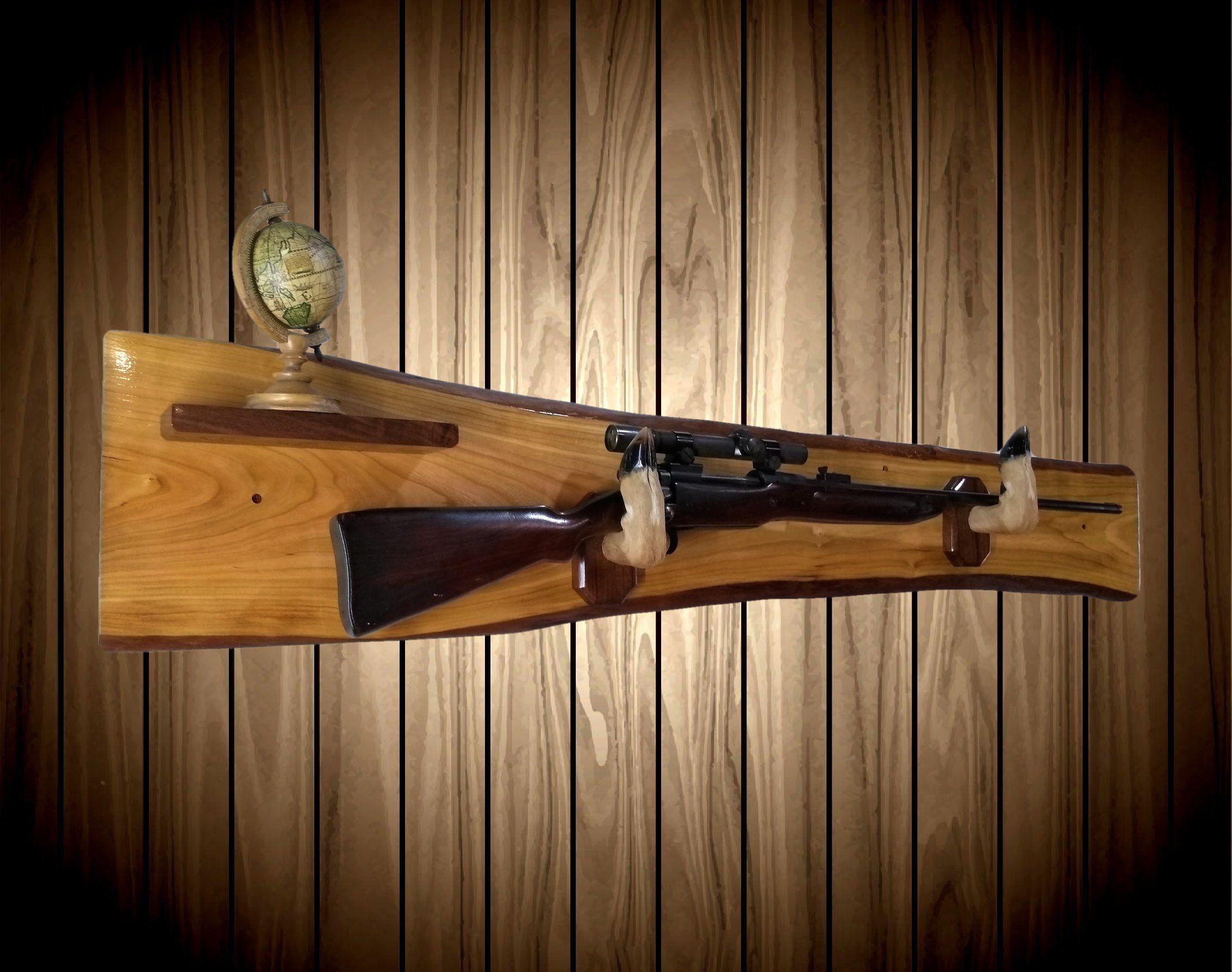 5 Gun Rifle Shotgun Wooden Wall Mount Rack Holder Hunting Display Storage Hanger