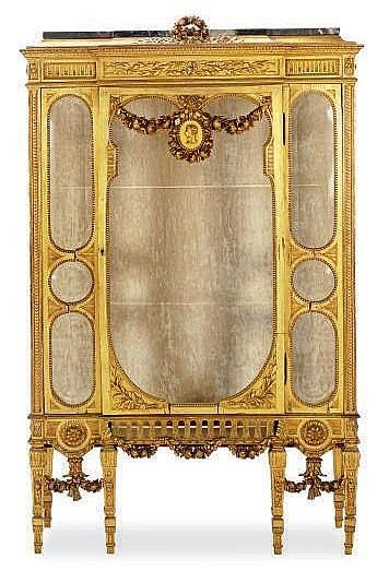 Sold Price A French Giltwood And Marble Top Vitrine Cabinet September 3 0110 12 00 Am Edt Antiques Elite Furniture Vintage Cabinets
