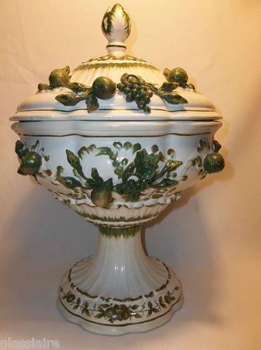 "Italian Faience Majolica Tureen Applied Fruits 16"" Splendid Italian Pottery | eBay"