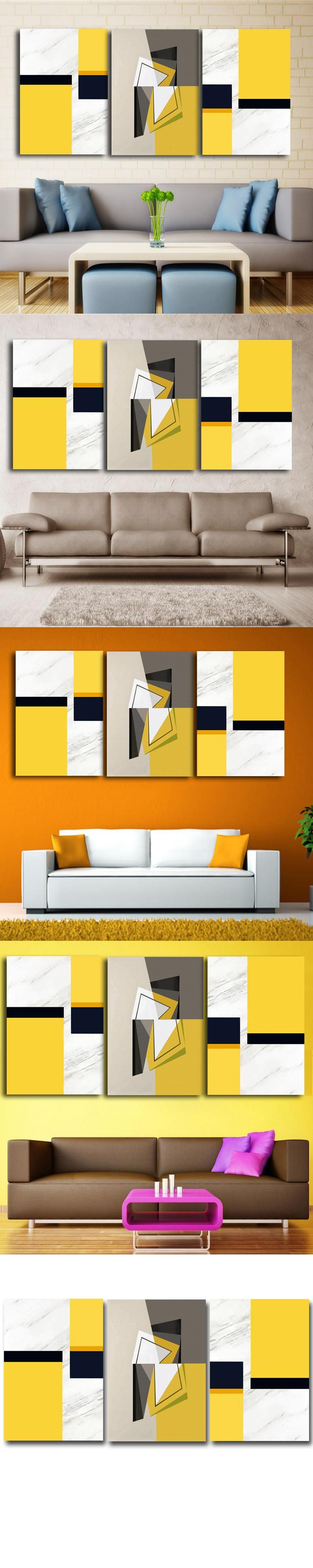 3 Panels/Set Modern Abstract Yellow Colors Oil Painting On Canvas ...