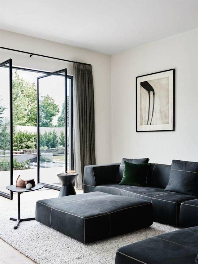 Interiors | Pivot doors, Steel frame and Granite